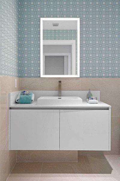 Luxury guest bathroom vanity with quartz stone countertops