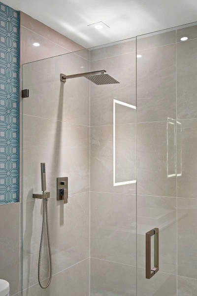 Amrit luxury residences glass enclosed rain shower