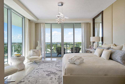 Luxury master bedroom with intracoastal and ocean view