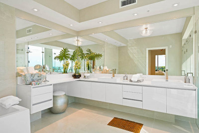 Amrit luxury master bathroom vanity with quartz stone countertops