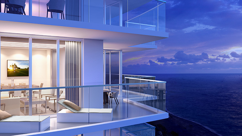 Oceanfront terraces night time rendering