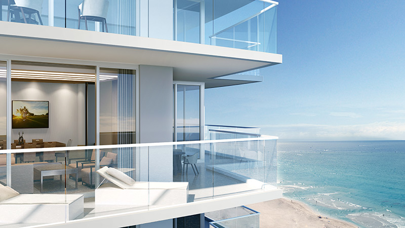 Oceanfront terraces daytime rendering